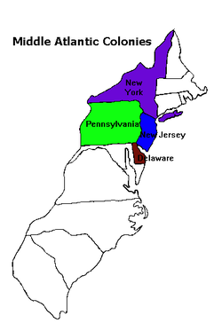 The Middle Colonies   The 13 Colonies by Region